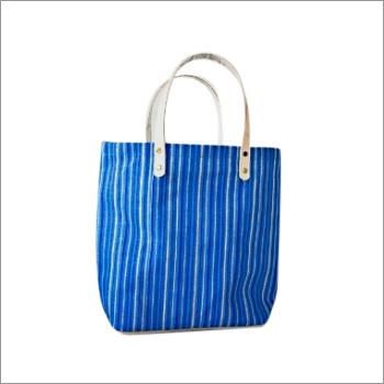 Striped Jute Tote Bag