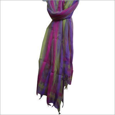 Cotton Silk Warp Stripe Scarf