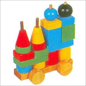 Multicolor Solid Wooden Coloured Train