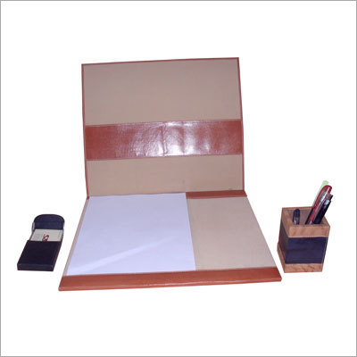 Leather Table Plotter with Pen Stand
