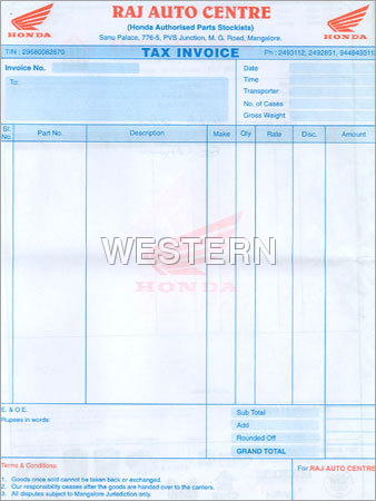 Double Colour Tax InvoiceColour Tax Invoice ManufacturerTax