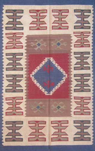 Kilim Jute Wool Rug In Vibrant Colors With Fringes, Best Jute Rugs In Jaipur