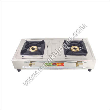 Biogas Handle Double Burner S.S Stove