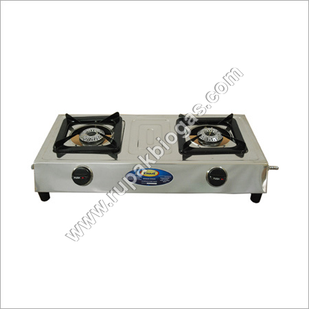 Biogas Double Burner Stainless Steel Stove