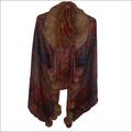 Wool Fur Collar Jamavar Design Scarves