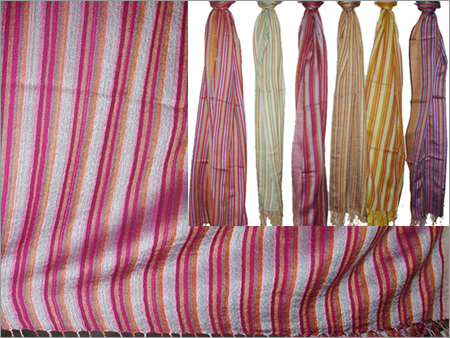 50% Wool, 50% Silk with Stripes (70x200cm)