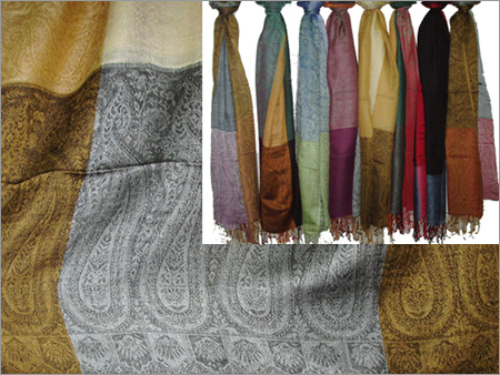 50% Wool, 50% Silk with Paisley Boxes (70x200cm)