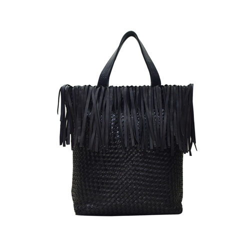 Leather Handwoven Tote Bag