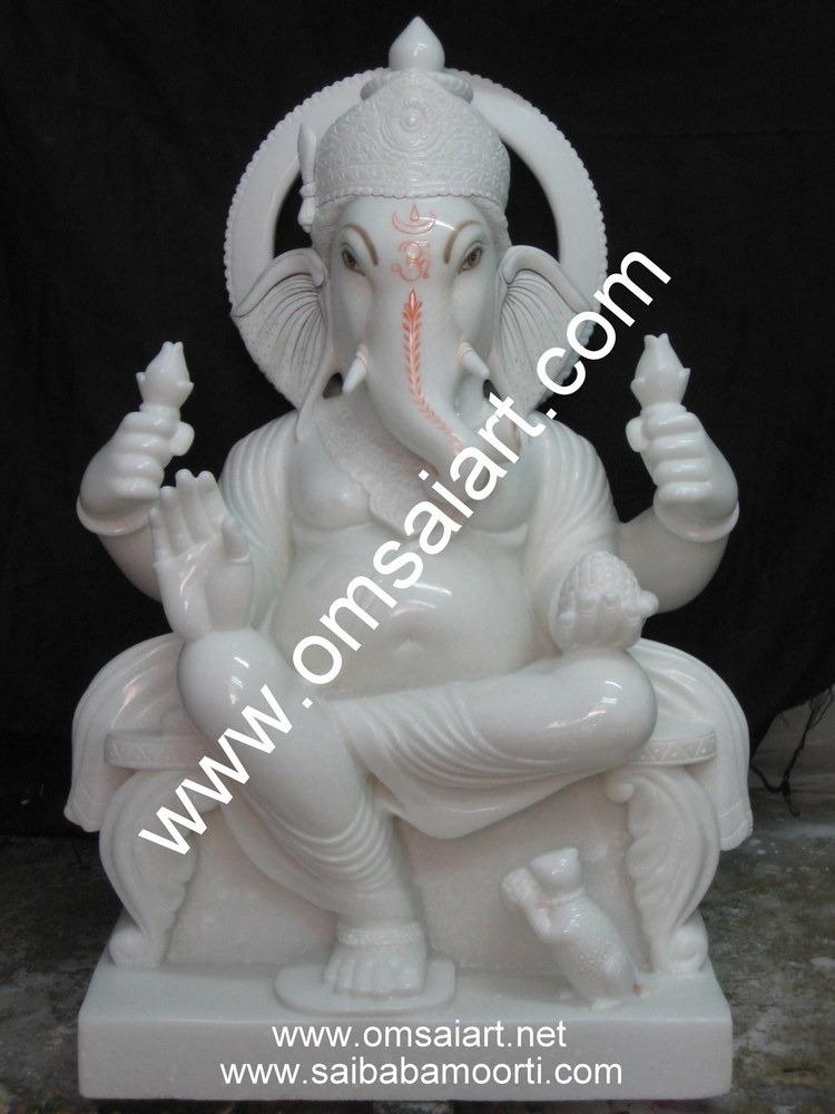 White Marble Ganesh Statue Manufacturer Supplier Exporter In