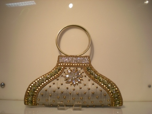 Sequin Bag With Brass Handle
