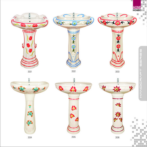 Multi Color Design Wash Basin Pedestal