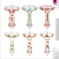 Multi Color Design Wash Basin Pedestal