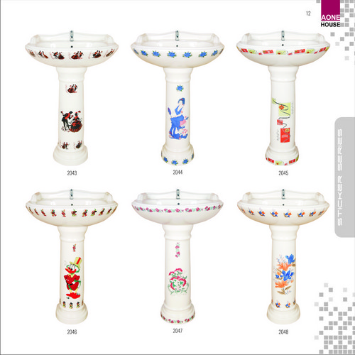 Sticker Design Wash Basin Pedestal
