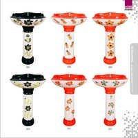 Multi Double Color Design Wash Basin Pedestal