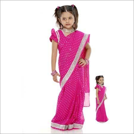 Girls Pink Sarees