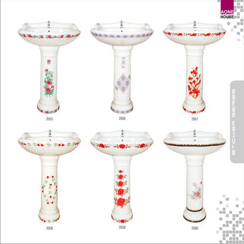 Multi Color Sticker Design Wash Basin Pedestal