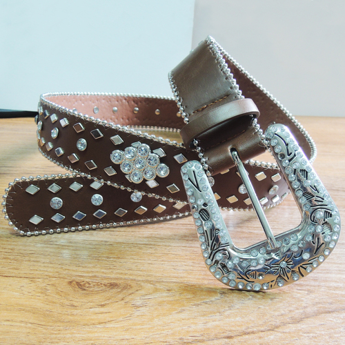 40MM Leather Belt with Shiny Ornament (#004)