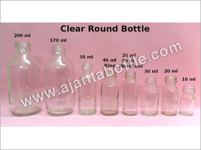 Clear Round Amber Bottles