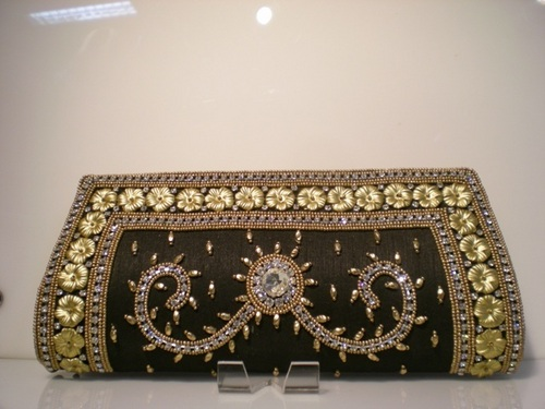 Black Zircon Crystal Handbag Clutch Wedding Purses
