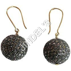 15 mm Ball Pave Diamond Earrings