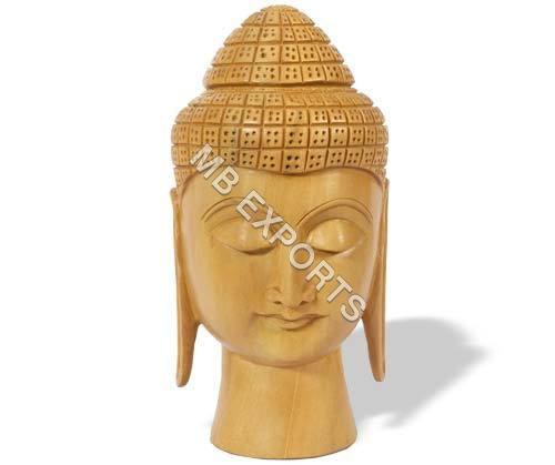 Wooden God Buddha Face Sculpture