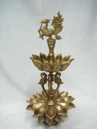 BRASS LAMP PEACOCK