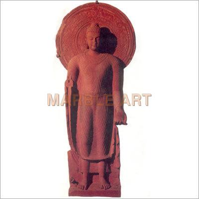 Red Stone Standing Buddha Statue