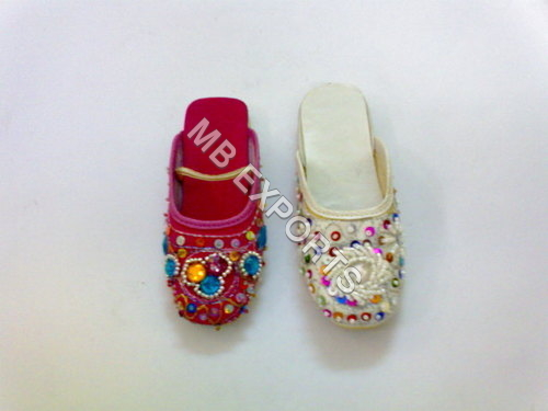 Kids Leather Beaded Slippers