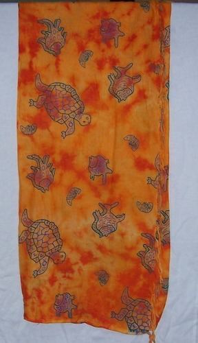 Tortoise & Fish Printed Cotton Scarves