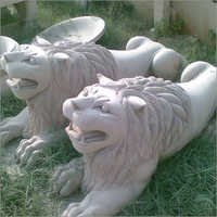 Sandstone carved lions