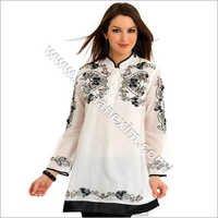 White Kurta With Black Thread Embroidery