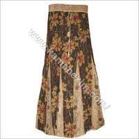 Rayon Floral Print EMB Skirt