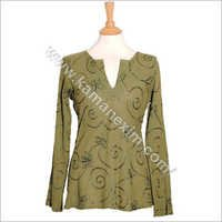 Khaki Green Womens Cotton Hippy Indian Kurta
