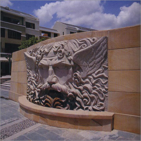 Elevational Lion Face Fountain