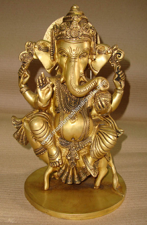 Lord Ganesh Brass Statue Sitting on Rat