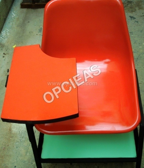 FIBREGLASS WRITING PAD CHAIR WITH BOOKS PROVISION
