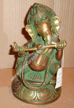 Ganesh Sitting Playing Flute