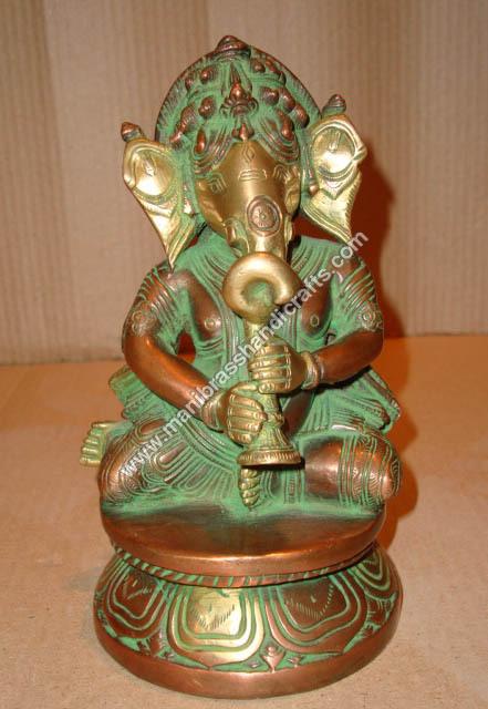 Brass Ganesh Sitting Playing Shehnai