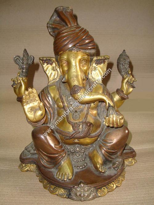 Pagri Ganesh On Dragon Base