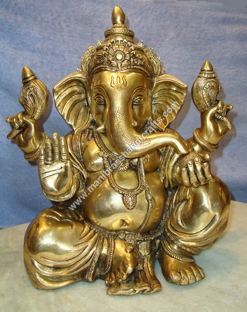 Ganesh Sitting With Out Base 4 Arms