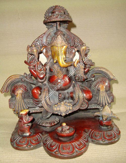 Ganesh Sitting On Throne With Double Ring