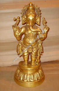 Brass Ganesh Standing On Oval Base