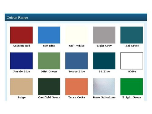 Roofing Sheet Color Shade Card