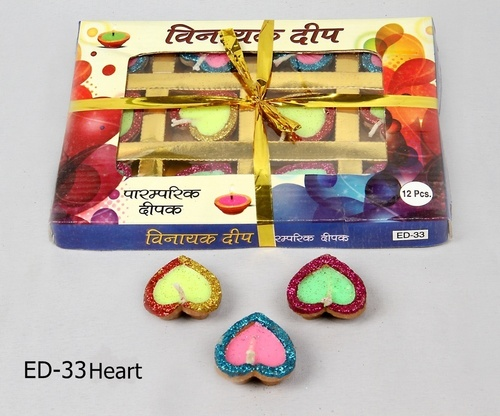 Heart Shaped Earthen Diyas