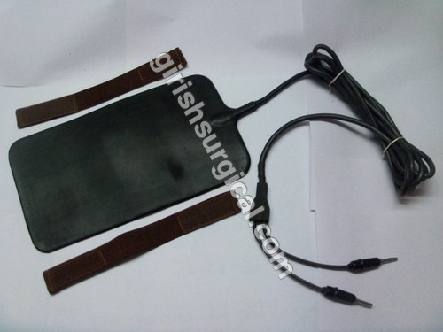 silicon rubber patient plate with cable cord attached & velcro strap