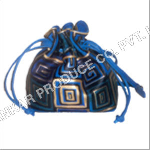 Leather Drawstring Hand Painted Bag