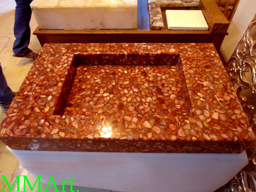 Gem stone washbasin