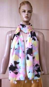 Poly Voile Printed Scarves With Fringes