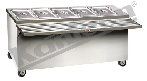 FOOD SERVICE COUNTER - BAIN MARIE (3 SIDES COVERED WITH TRAY RESTER)