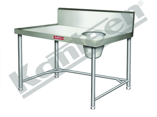 SOILED DISH LANDING TABLE WITH GARBAGE CHUTE